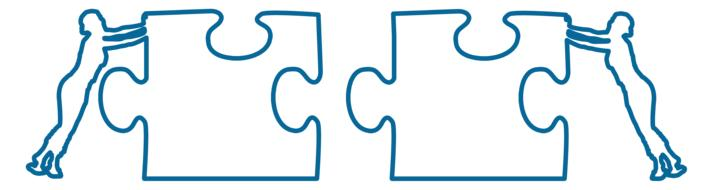 business world cooperation puzzle drawing