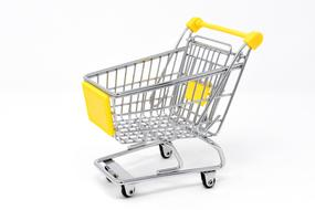 shopping trolley with a yellow handle