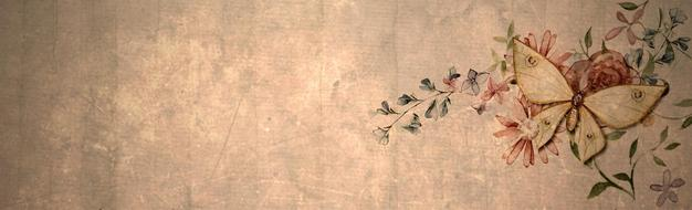 butterfly banner with butterfly on flowers, drawing