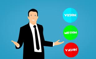 mission vision values business drawing