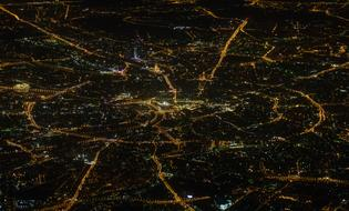 photo of Moscow night view from the plane