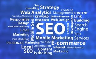 seo, word cloud at blue background