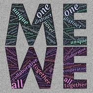we and me, colorful word clouds