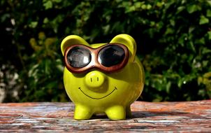 photo of a green piggy bank with glasses