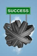 Success Road To Direction banner at blue sky with white clouds