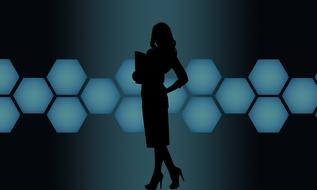 silhouette of businesswoman at abstract background