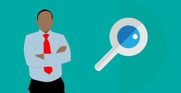 business man and magnifying glass, drawing, analytics, search