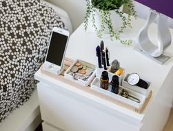 organizer on White Table in Bedroom