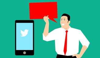 social media marketing, businessman with red board and smartphone with twitter icon, drawing