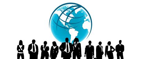 silhouettes of business people in front of globe, drawing