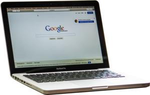 Macbook, Laptop Computer with google page on screen