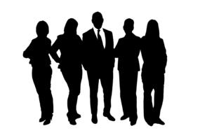 black silhouette of a group of businessmen