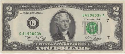 two dollar banknote