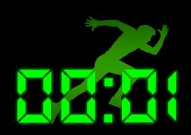 startup, start, green silhouette of runner at counter, drawing