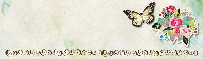 flowers butterfly banner drawing