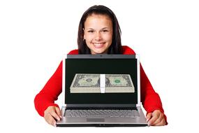 make money online, motivator, happy girl with pack of money and laptop