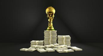 trophy world cup and money