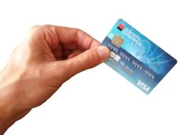 blue Credit Card hand