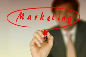 Businessman Write Marketing