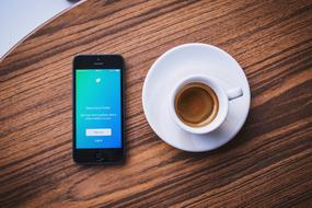Twitter Social Media phone and coffe