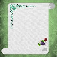menu sheet with painted grapes and a glass of wine