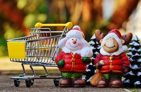 Shopping Cart and ceramic snowmans