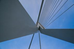cable construction of Erasmus Bridge at sky, netherlands, Rotterdam