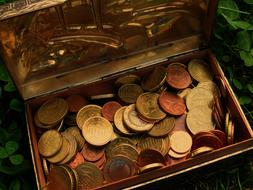 euro coins in box