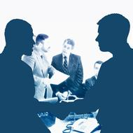 businessmen shaking hands in office, collage