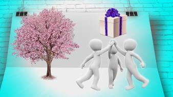 joint project tree pink present