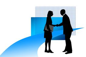 start up, businessman and woman shaking hands, drawing