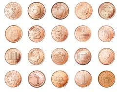 photo of golden european coins on a white background