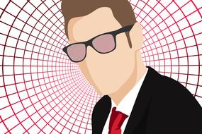 symbol of a businessman with glasses on a background of a computer web
