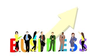 business people arrow banner drawing