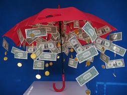 money rain and red umbrella