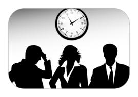 company personal silhouettes clock drawing
