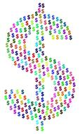dollar sign with small colorful signs