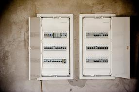 two open electrical panels