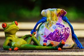 Money bug and ceramic frog