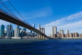 Brooklyn Bridge Manhattan and blue river
