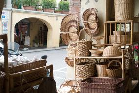 Beautiful traditional weaved Baskets on market in Tuscany, Italy