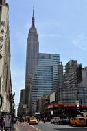 Empire State Building on street, usa, manhattan, New York city