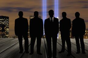 five businessmen in front of night city skyline, collage