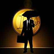 businessman silhouette with umbrella