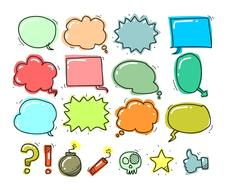 colorful set of thought bubbles and icons