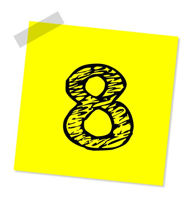 eight number yellow stick