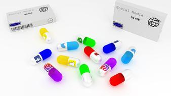 medicines like capsules with social media logos and package