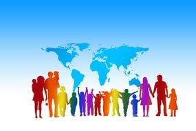 multicolored tllpa of people on a world map background