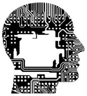 mother board of computer in human head, drawing