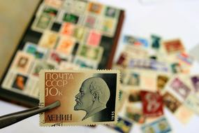 postage stamp with Lenin